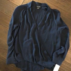 {trouve} navy crossover blouse, size L NWT